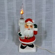 Vintage Tilso Japan Electric Ceramic Santa Light w Flickering Candle Christmas