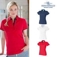 Front Row Women's Contrast Pique Polo Shirt (FR201) - Short Sleeve T-Shirt