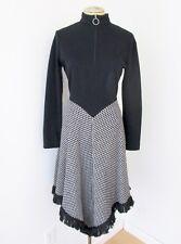 NOS w/Tag Vtg 60s 70s Black Knit Check Blanket Scarf Fringe Hem Hippie Dress 14