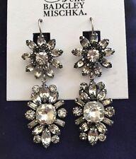 BELLE BADGLEY MISCHKA Vintage Lk Crystal Flower Drop Leverback Earrings-$48-NWT!