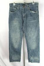 Vigo Mens Sz 30x30 (32x30) Blue Denim Embroidered Flap Button Pocket Pants Jeans