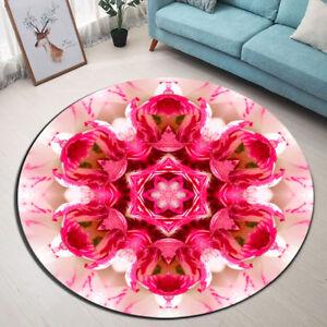 Round Carpet Mandala Pink Flower Center Floor Non-Slip Living Room Bath Door Mat