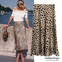 Celebrity Fashion Satin Silky High Waist Leopard Print Midi Skirt Size 8 10 12