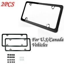 For US Car - 2PCS STAINLESS STEEL LICENSE PLATE FRAME SCREW CAP /4 Hole