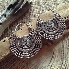 Extra Large Hoop Earrings Silver Plated Brass Labradorite Indian Ear Weights NEW