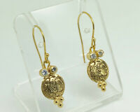 Gorgeous Studio Crafted Gold on Sterling Silver Roman Emperor Seal Drop Earrings