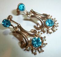 Vintage 1960's Art Deco Rose Gold Tone Blue & Clear Rhinestone Dangle Earrings
