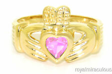 CLADDAGH RING GOLD PLATED SIMULATED PINK ICE LOVE & LUCK - OCTOBER