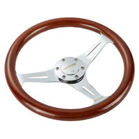 14'' Universal Wooden Steering Wheel Wood Grain Trim Silver Chrome Spoke 350mm
