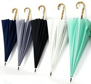 Japanese Style Long Bamboo Handle Rain Umbrella Men Women Windproof Umbrella New