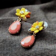 Fashion Graceful Pink Water Drop Yellow Resin Flower Earrings for Women Fashion