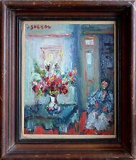 Jacques Zucker American 20th Century Impressionistic Interior Scene Oil Painting
