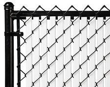Chain Link White Double Wall Tube™ Privacy Slat For 4ft High Fence Bottom Lock