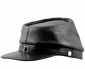 American Civil War Leather Kepi Cap Replica History Confederate  Militaria