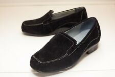 Aravon 6.5 EE Black Suede Loafers Women's