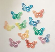 24 RAINBOW EDIBLE RICE WAFER PAPER BUTTERFLY CUPCAKE PARTY TOPPERS