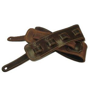 Guitar Strap Full Grain Buffalo Leather Stitched - Mahogany
