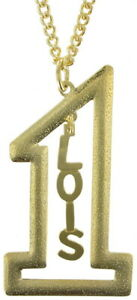 """Vintage Gold Tone Number #1 Name Plate Pendant 2 1/2"""" + Necklace 22"""" - Lois"""