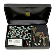 CATHOLIC OUR LADY OF GUADALUPE  VINTAGE ROSARY 8-10mm-Blue Aqua BEADS, Italy