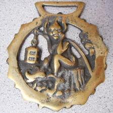 Vintage Bridle Medallion Brass Horse Gargoyle Motif Equestrian Tack Ornament