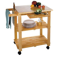 Modern Utility Cart Solid Wood Mobile Portable Kitchen Storage Shelf Organizer