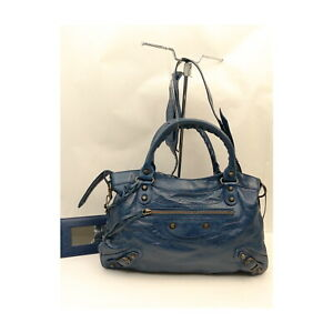 Balenciaga Hand Bag Mini City attractive Navy Blue Leather 1134511