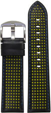 20mm Panatime Black Perforated Leather Watch Band w/Yellow Holes & Blue Stitch