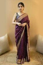 New Bollywood Banarasi Weaving Silk Saree Sari Ethnic Wear Kanchipuram Indian AC