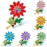 Charm Women Flower Brooch Crystal Rhinestone Wedding Bouquet Pin Breastpin Gift
