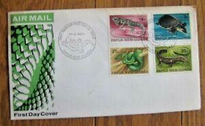 PAPUA NEW GUINEA 1972 REPTILES SNAKE TORTOISE IGUANA 4 STAMPS SET  FDC