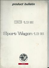 1991 ALFA ROMEO 33 1.3 IE - IEL - SPORT WAGON - 4X4 Product Bulletin