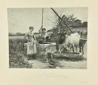 Gravure ancienne à l'eau forte XIXe- E B DEBAT PONSAN «PAYSANNERIE» salon 1888