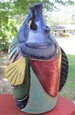 "Unusual Decorative Pottery Fish Jug Vase or Shelf decor 9"" tall."