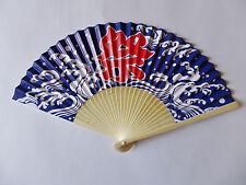New SENSU Japanese Folding Fan MATSURI Festival Blue Paper & Bamboo from Japan