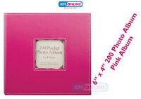"Pink 200 Pockets 6"" x 4"" Vibrant Slip In Hot Photo Album Wedding Picture Storage"