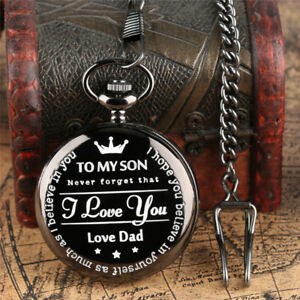 Mens Boys Quartz Pocket Watch to My Son Never Forget That I Love You Forever
