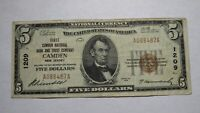 $5 1929 Camden New Jersey NJ National Currency Bank Note Bill Ch. #1209 VF!
