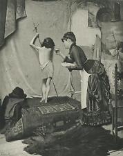 ANTIQUE WOMAN ARTIST COAXING CHILD MODEL CANDY FOR SAINT JOHN THE BAPTIST PRINT