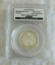 2012 £1 BRITANNIA SILVER PROOF SLABBED CGS 99 - 25th ANNIV PORTRAIT COLLECTION e