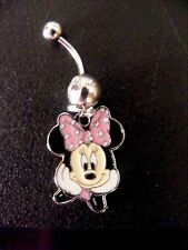 Minnie Mouse What's Up Pink  Belly Ring Navel Ring 14G Surgical Steel Dangle