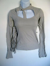 *Rare Lip Service Damaged Straps of Mercy Bondage Collar Long Sleeve Grey Top XL