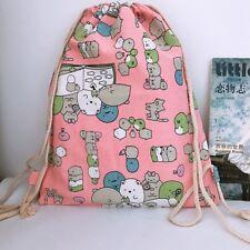 Sumikko Gurashi pink canvas drawstring backpack shoulder bag school bag new
