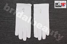 1st First Holy Communion Flower Girls Wedding Pageant Diamanté Cross Gloves Veil