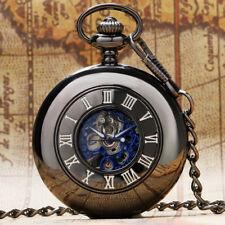 Black Men Women Mechanical Hand Winding Pocket Watch Necklace Chain Gift