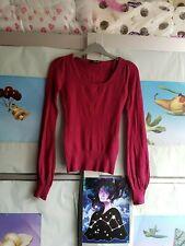 JANE NORMAN womens carmine burgundy red scoop neck bell sleeve jumper