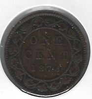 1876 Canada One Cent Coin F-12