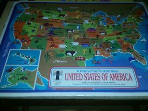 Vintage 1968 United States USA Map Frame Tray Puzzle Rainbow Works. A5/FR