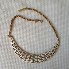 "Vintage Trifari 14"" Gold Tone White Enamel Necklace"