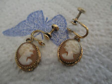 Vintage Cameo shell 12K Karat Gold Filled Earrings CT Classical Woman