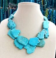 Party Charm Chunky Turquoise Slice Handmade BIb Necklace Woman Gift Habdmade